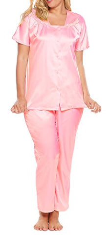 Ekouaer Women's L-4XL Sleepwear Short-Sleeve Pajama Sets Sleep Tops& Pants for Plus Size Women