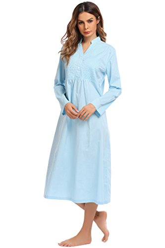 Ekouaer Womens Cotton Victorian Nightgown Long Sleeve Vintage Sleepwear