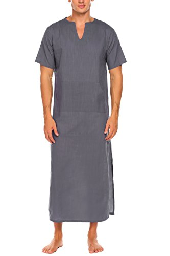 Ekouaer Mens Cotton Nightshirt Basics Night Shirt Long Sleep Shirt