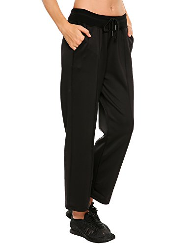 Ekouaer Women's Jogger Sweat Pant Active Yoga Workout Drawstring Leggings
