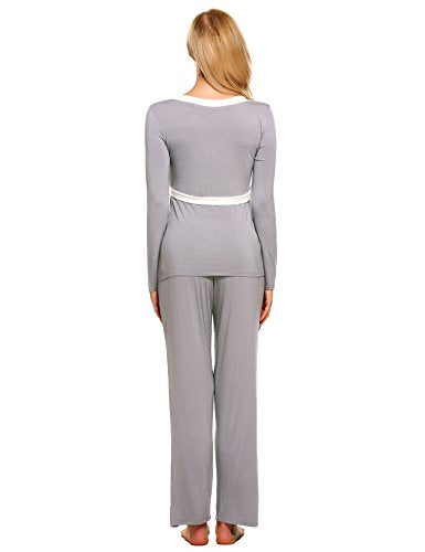 Ekouaer Long Sleeve Sleepwear Nursing&Breastfeeding Pajama Set For Women
