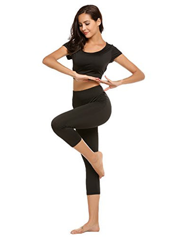 Ekouaer Women's 2pcs Yoga Set Sport Bodycon Crop Top and Capri Pants Set