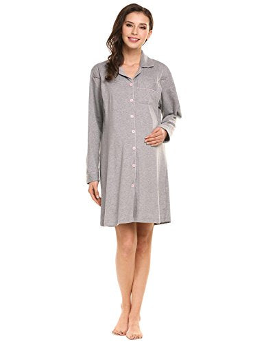 Ekouaer Women's Maternity Nursing Cotton Breastfeeding Nightgown Dress