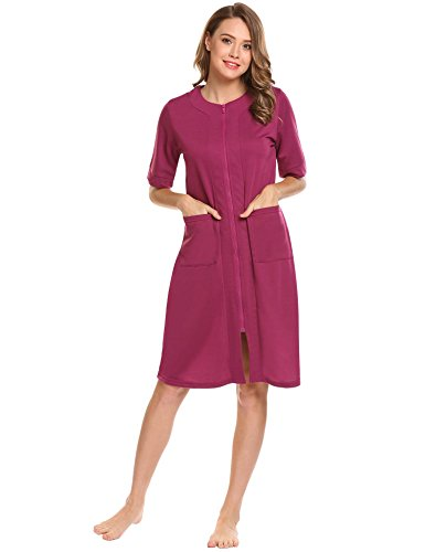 Ekouaer Women's Robes Kimono Sleepwear With Pockets Zipper Soft Elegant Bathrobe Loungewear Purple L