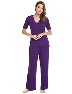 Ekouaer Women's V-Neck Sleepwear Short Sleeve Top With Pants Pajama Set