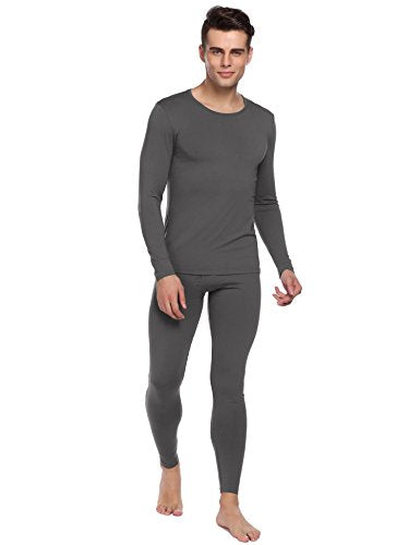 Ekouaer Men's Long Thermal Underwear Fleece Lined Winter Long Johns Base Layer Set S-XXL