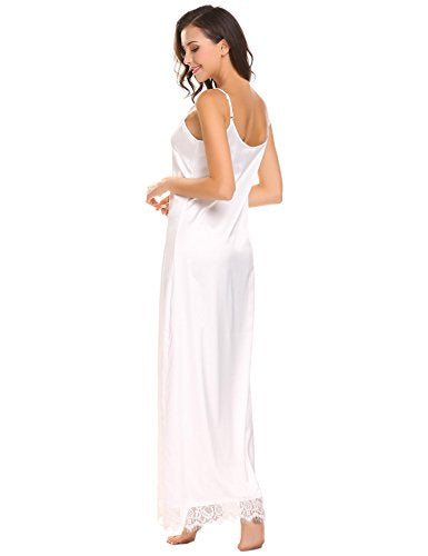 Ekouaer Womens Satin Long Nightgown Lace Lingerie Full Slip Nightie Gown