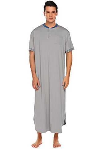 Ekouaer Men's Nightshirts Kaftan Night Shirt Short Sleeve Sleepwear