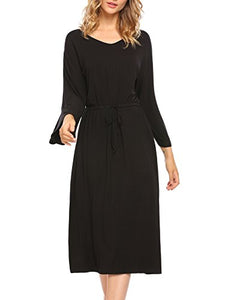 Ekouaer Ekouear Women Nightgown 3/4 Sleeve V-Neck Long Loose Sleepwear S-XL