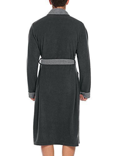 Ekouaer Men's Thick Bathrobe Warm Long Sleeve Sleepwear Homewear Night-Robe For Winter