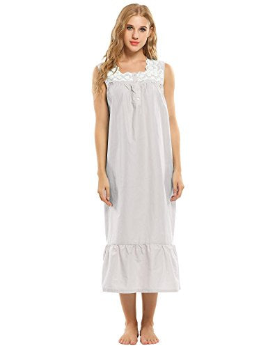 Ekouaer Womens Nightgown 100% Cotton Victorian Long Sleeveless Sleepwear