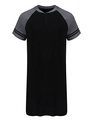 Ekouaer Men's Nightshirt Cotton Nightwear Comfy Big&Tall Short Sleeve Henley Sleep Shirt