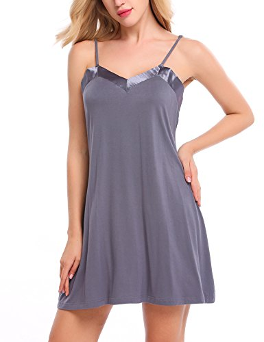 Ekouaer Chemise Womens Sleepwear Soft V-Neck Nightgown Full Slip Lingerie Dress S-XXL