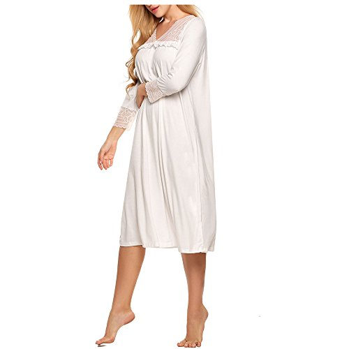 Ekouaer Nightgown Women's Victorian Sleepshirt Night Gown Cotton Lounge Dress