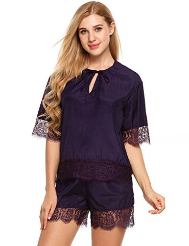 Ekouaer Womens Short Sleeve Lace Patchwork Sleepwear Embroidered Tulle Tie-Neck Nightwear Pajamas Set