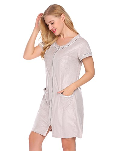 Ekouaer Women's Short Zip Robe, Neck Patchwork Sleepwear With Pockets