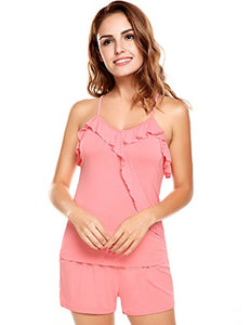 Ekouaer Womens Comfort Pajama Set Ruffle-Trim Knit PJ with Tank and Shorts Sleepwear