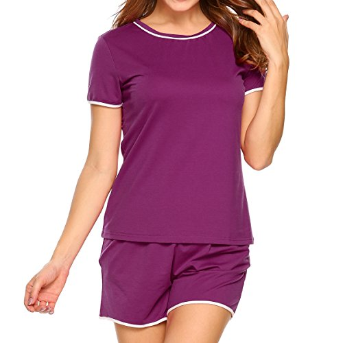 Ekouaer Short Pajamas For Women Lace Short Sleeve PJS Sets With Pockets