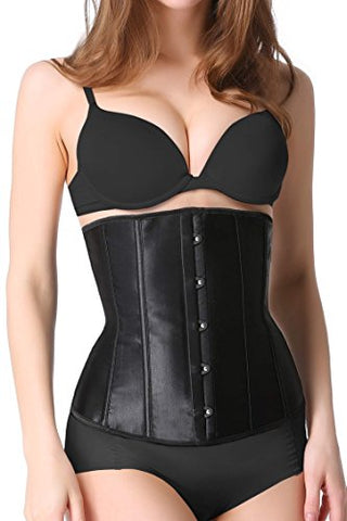 Ekouaer Steel Boned Underbust Waist Training Corset Bustier With G-String