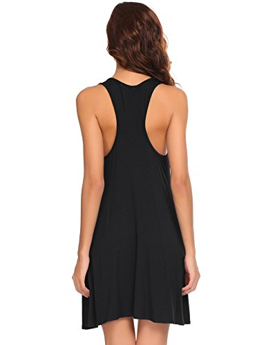 Ekouaer Women's Nightgown Full Slip Chemise V Neck Nightshirt Dress Sleepwear