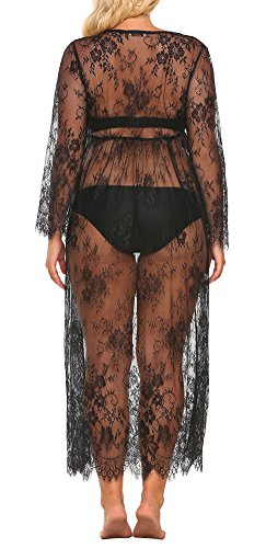 Ekouaer Plus Size Women's Lace Sexy See-Through Babydoll Nightgown
