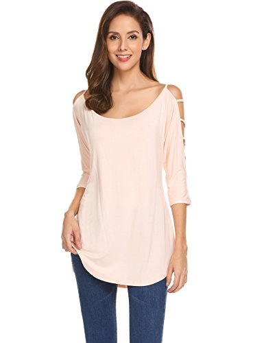 Ekouaer Women's Casual Loose Hollowed Out Shoulder Three Quarter Sleeve Shirts