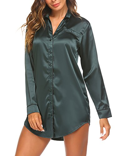 Ekouaer Long Sleeve Sleep Shirt Sexy Boyfriend Style Women Cotton Nightgown