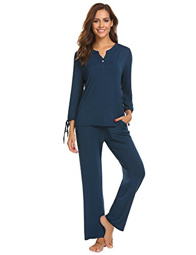 Ekouaer Pajama Women's Long Sleeve Sleep Shirt With Long Pants Pajama Set S-XL