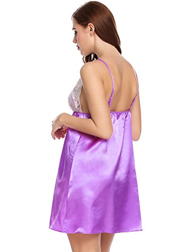 Ekouaer Womens Satin Chemise Nightshirt Sexy Lounge Dress Nightgown With Lace