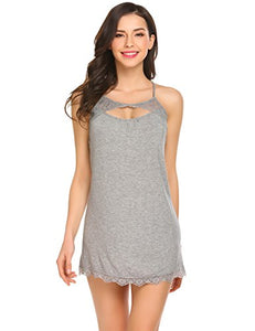 Ekouaer Women's Sexy Sleepwear Slip Chemises Nightshirt (Grey, Large)
