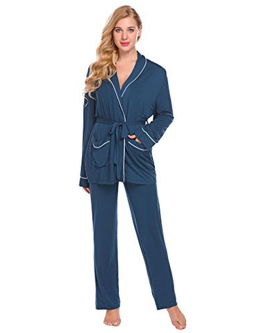 Ekouaer Women's Long Sleeve Pajama Set