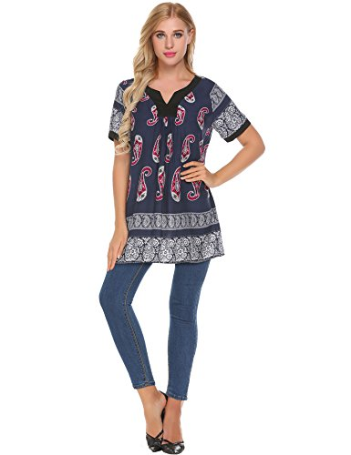 Ekouaer Womens Short Sleeve Floral Print Tunic Tops