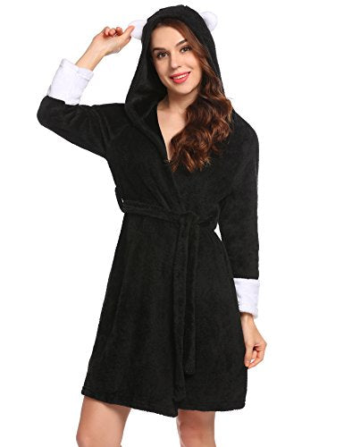 Ekouaer Women's Fleece Bathrobe Kimono Robes Hooded With Two Ears Lounge Robe S-XXL