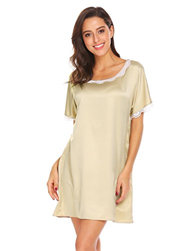Ekouaer Women's Nightgown Satin Lace Short Sleeve Lounge Dress Sleepwear