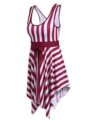 Ekouaer One-Piece Bathing Suit Women's Swimwear Cover up Swimdress Swimsuit with Removable Pad, Striped Pattern