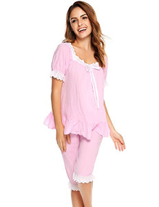 Ekouaer Womens Cotton Pajama Set Victorian Vintage PJ Sleepwear with Short Pants