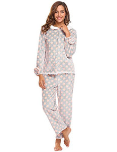 Ekouaer Women's Thermal Pajamas Fleece Plush Lace Patterned Pajama Set