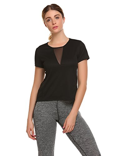 Ekouaer Women's V Neck Mesh Back See Through Patchwork Short Sleeve T-Shirts Tops