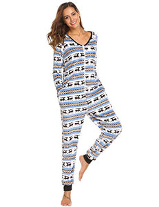 Ekouaer Womens Christmas V Neck Onesie Long Sleeve One Piece Pajama S-XXL