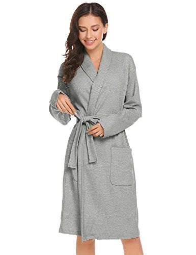 Ekouaer Womens Bathrobe Spa Hotel Kimono Cotton Robe Lounge Sleepwear