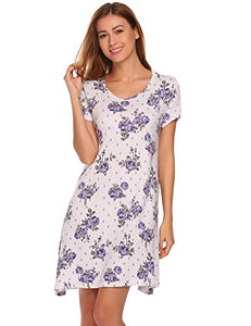Ekouaer Night Gown Womens Floral Lounge Dress Plus Size Lingerie (Blue,Large)