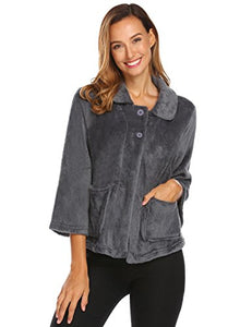 Ekouaer Women's Peter Pan-Collar Bed Jacket 3/4 Sleeve Button Up Soft Flannel Sleepwear