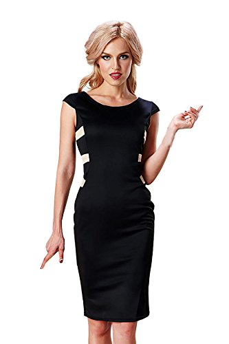 Ekouaer Womens Sexy Black Slim Fit Party Cocktail Dress Clubwear Bodycon