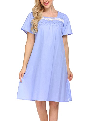 Ekouaer 100% Cotton Nightgown Women's Vintage Victorian Sleepwear Short Sleeve House Dress S-XXL