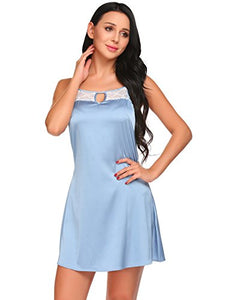 Ekouaer Womens Satin Chemise Nightgown Sexy Lace Trimed Sleepwear Dress