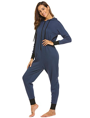 Ekouaer Womens Onesie Pajamas Adult Hooded Jumpsuit Non Footed One Piece Pajamas