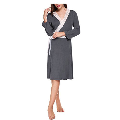 Ekouaer Womens Robes Sexy Lace Trim Knit Soft Lightweight Long Sleeve Sleepwear S-XL