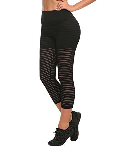 Ekouaer Womens Activewear Yoga Leggings with Sleek Strip Mesh