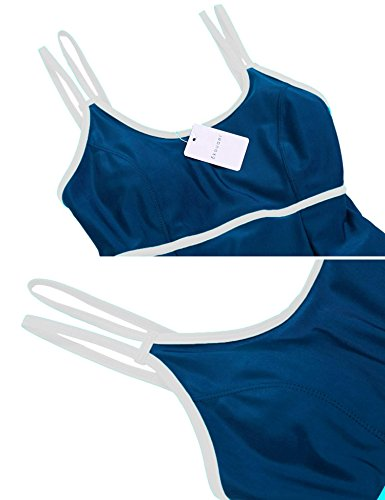 Ekouaer Swimsuits Women Padded Contrast Color Skirted Bottom One Piece Swimdress Swimwear