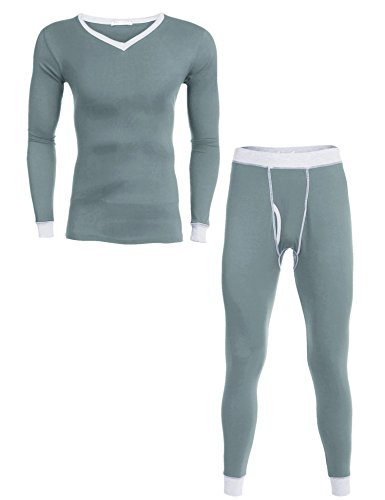 Ekouaer Mens Cotton Thermal Underwear Long Johns Base Layer Undershirt Pants Set